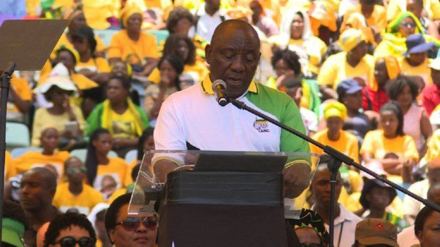 SAfrica's Ramaphosa gives speech at ANC manifesto launch