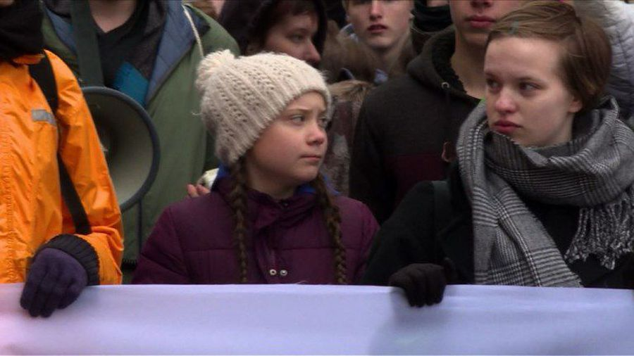 Swedish teen climate activist leads rally in Germany
