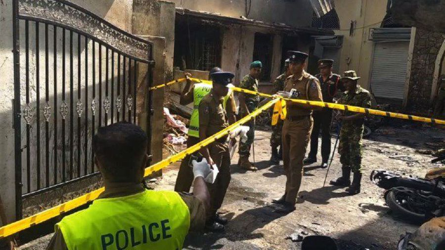 Police survey the scene after Batticaloa blast