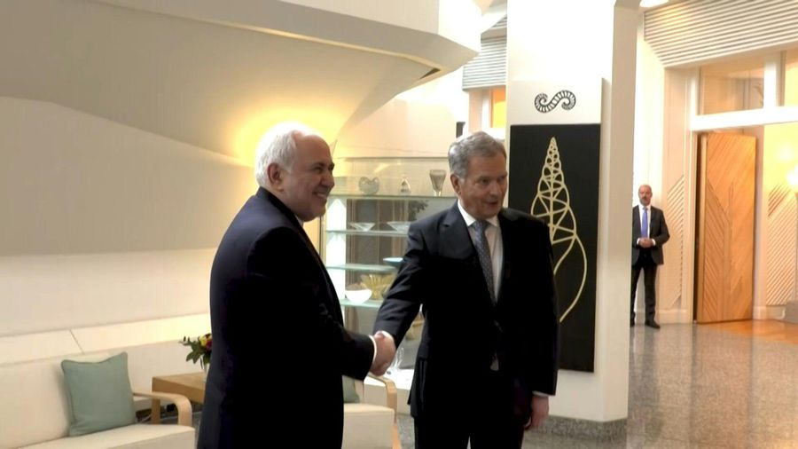 Finnish President greets Iranian foreign minister in Helsinki