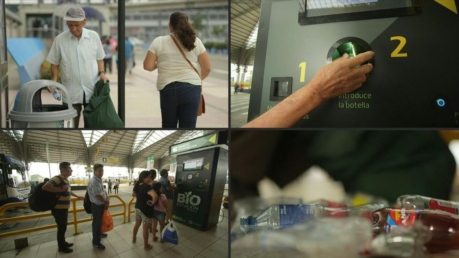 Ecuadorians can recycle plastic bottles for money to buy bus tickets