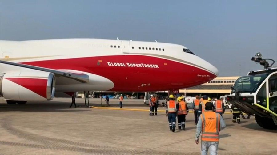 'Supertanker' plane lands in Bolivia to battle wildfires