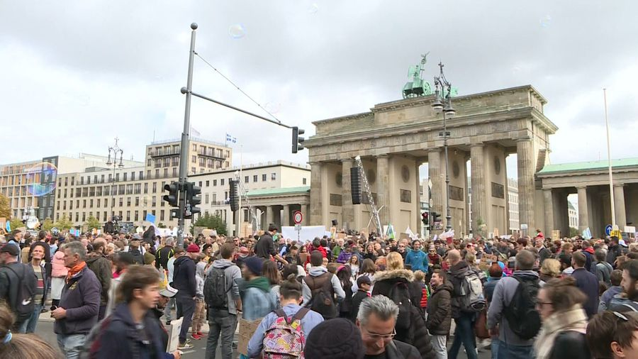 Fridays for Future and other organisations protest at Brandenburg Gate