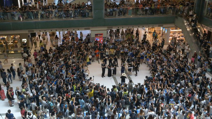 Hong Kong protesters demonstrate inside shopping mall