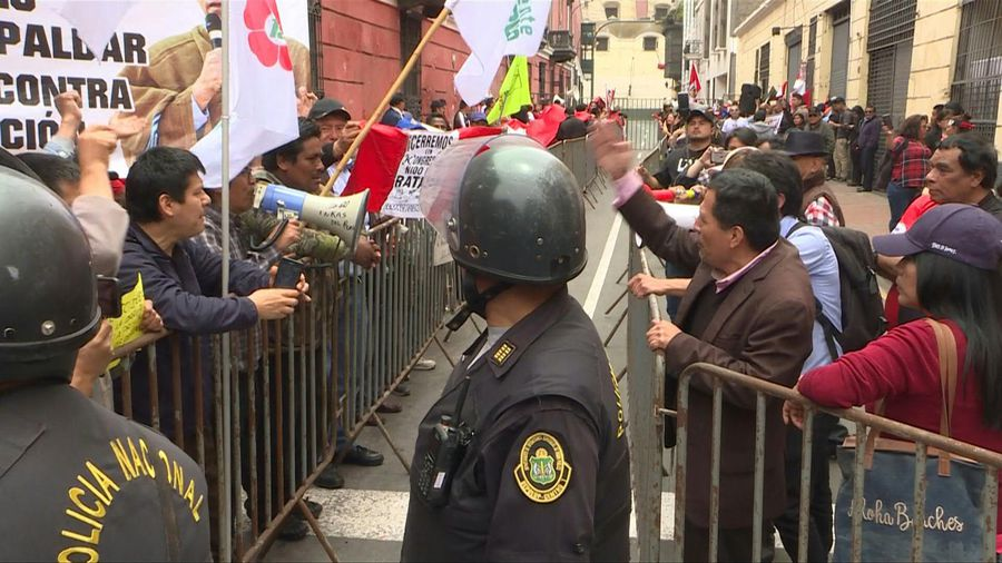 Protest outside Constitutional Court in Lima amid Congress crisis