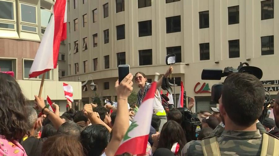Lebanese continue protests as Lebanon's government frays