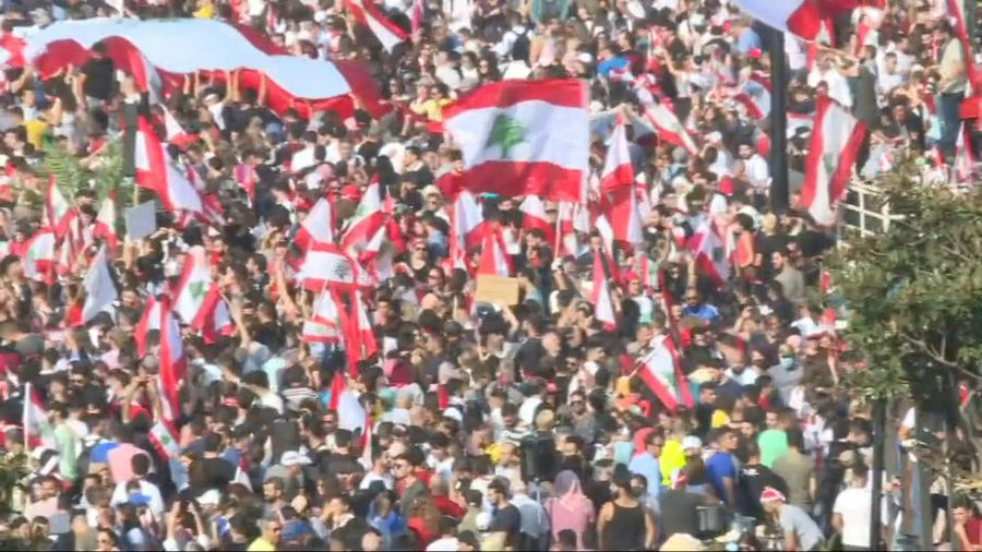 Tens of thousands demonstrate again as Lebanon's government frays
