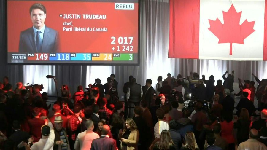 Liberal supporters react as Canada's Trudeau set to hold onto power