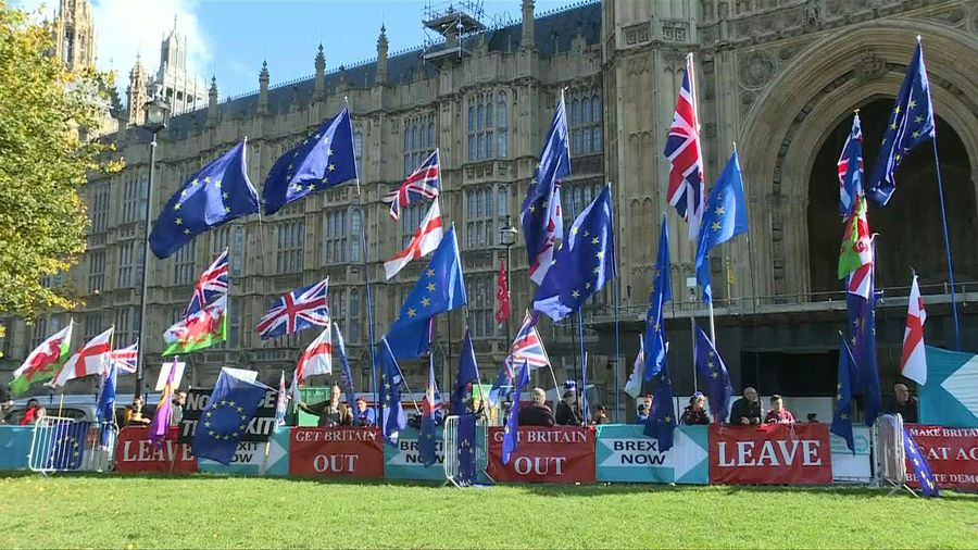 Scene outside British Parliament ahead of Brexit deal debate
