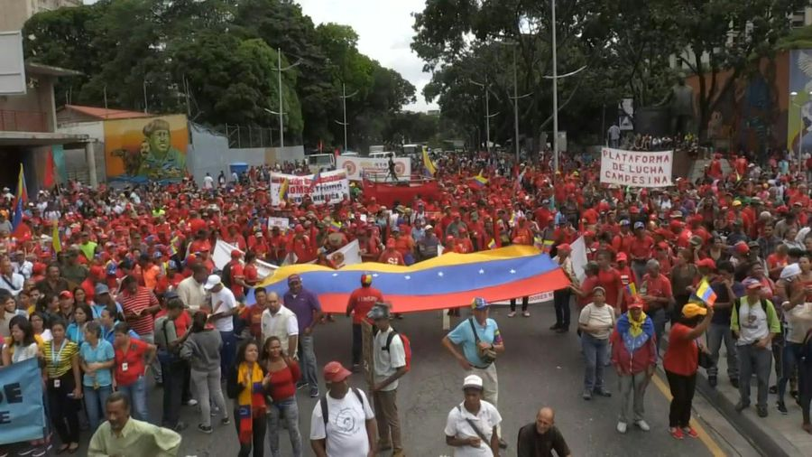 Maduro supporters protest in support of Bolivia's Morales