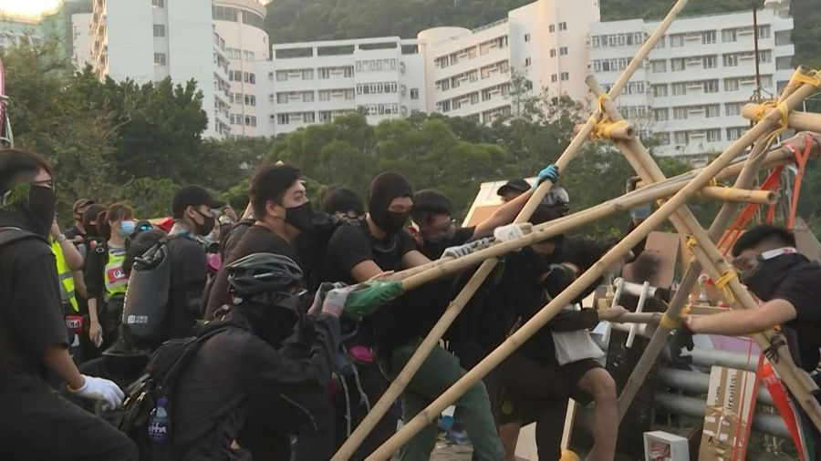 Hong Kong student protesters test DIY catapult