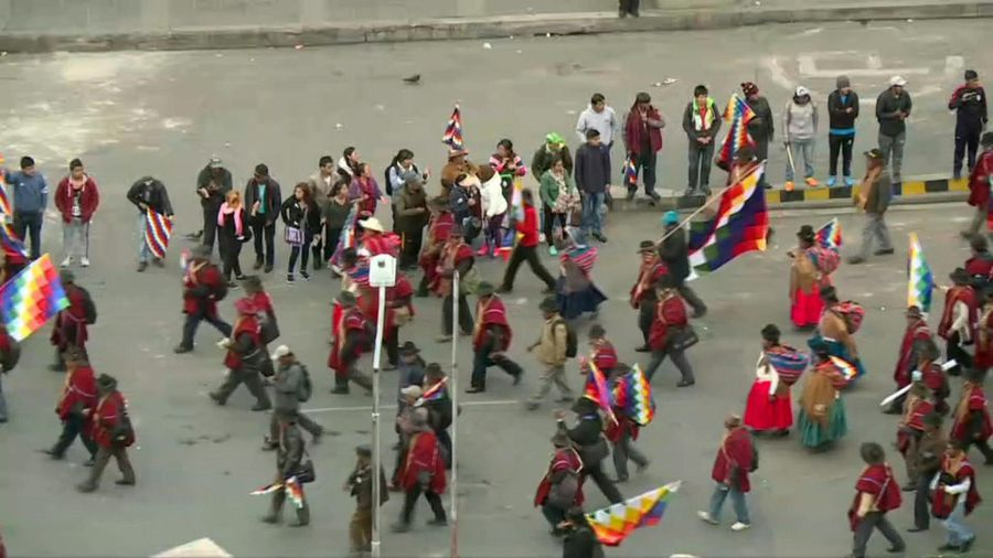 Demonstrators in Bolivia's La Paz protest against political crisis