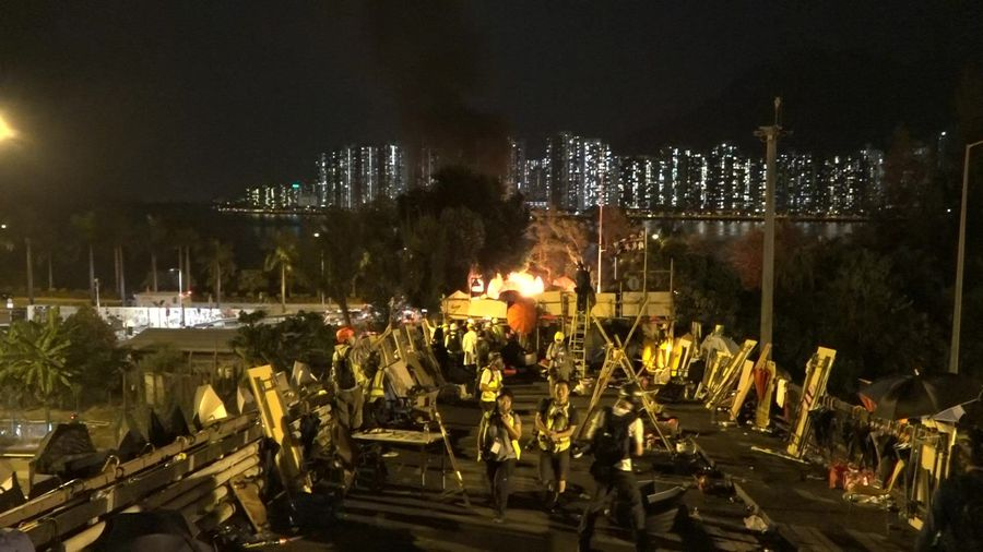 Hong Kong protesters set a van on fire