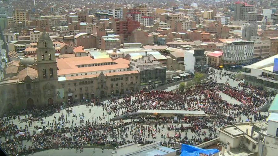 Supporters of Evo Morales rally in Bolivia's Plaza San Francisco