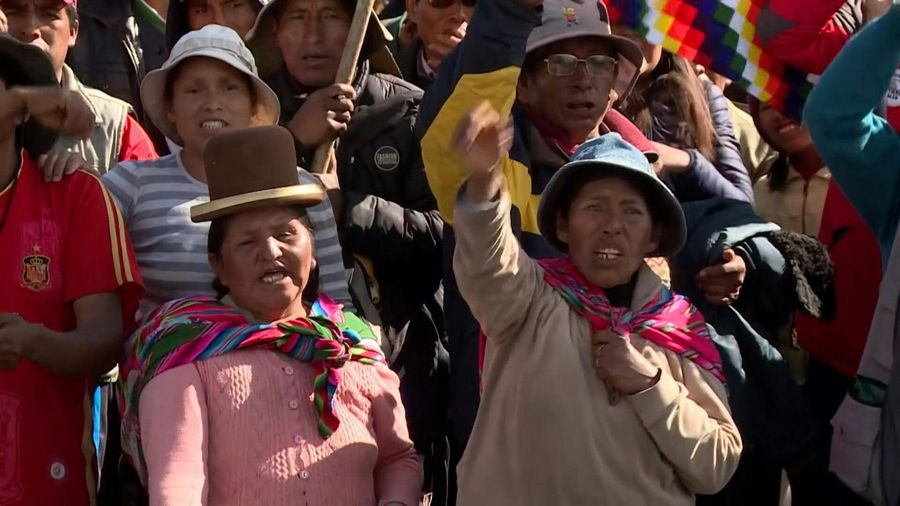 Morales backers from indigenous community protest against Bolivia's interim president