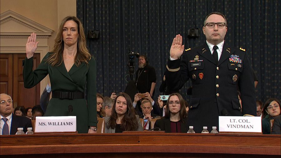 US: Alexander Vindman and Jennifer Williams swear in before public hearing in impeachment probe