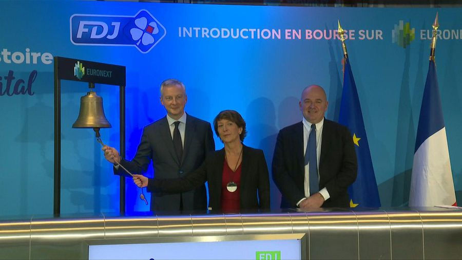 French Finance Minister rings opening bell as French lottery Française des Jeux makes stock market d