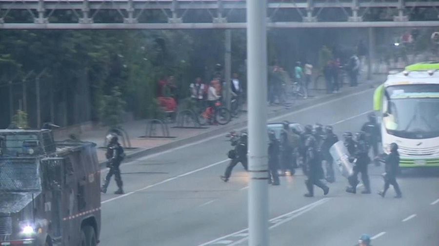 Police clash with demonstrators near Colombia's main university