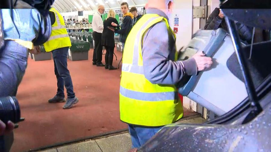 Ballot boxes arrive to be counted in Boris Johnson's constituency