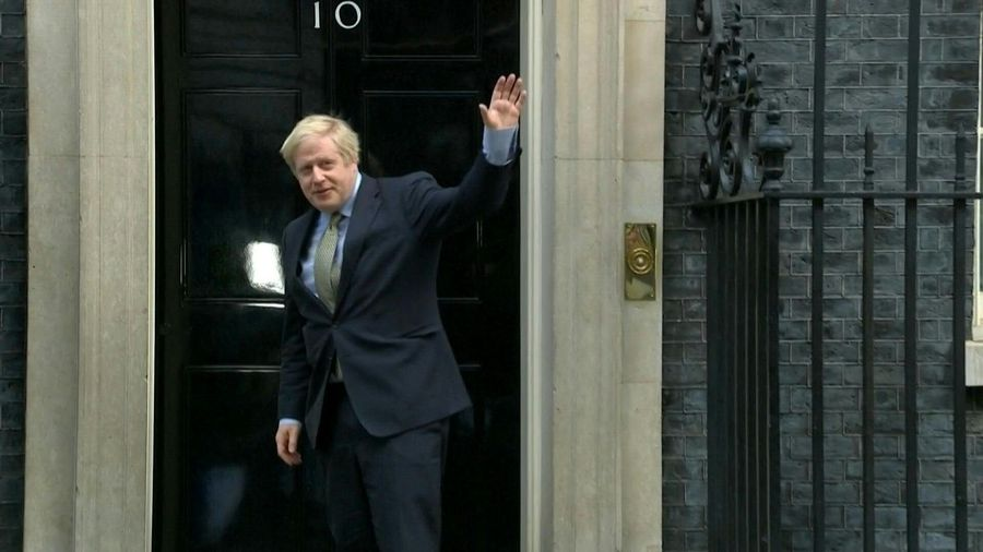 Boris Johnson returns to Downing Street after meeting Queen