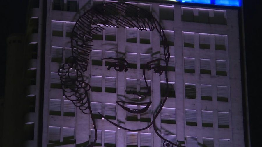 Buenos Aires lights up with the image of Argentina's Eva Peron