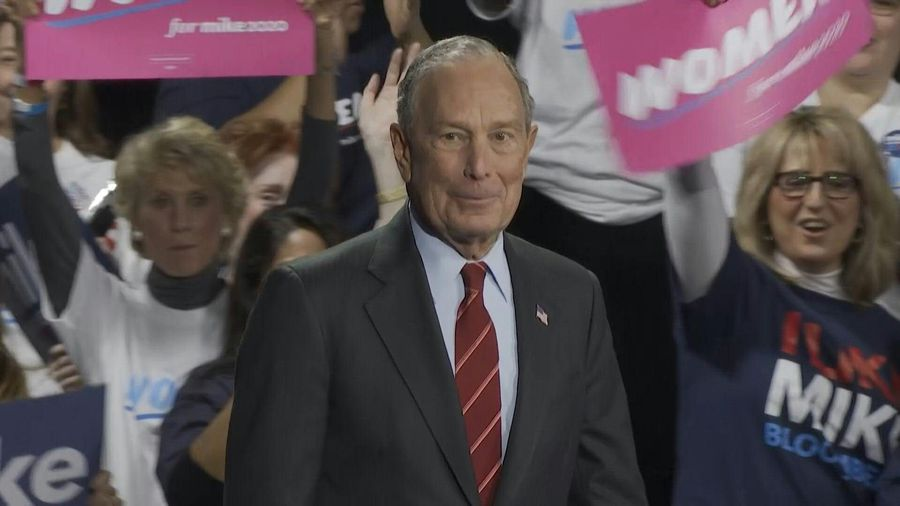 In New York, Bloomberg slams Trump's policies towards women at a campaign rally