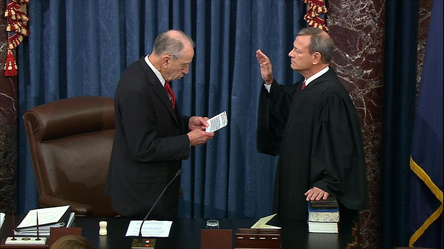 US Supreme Court chief justice sworn in to preside over Trump