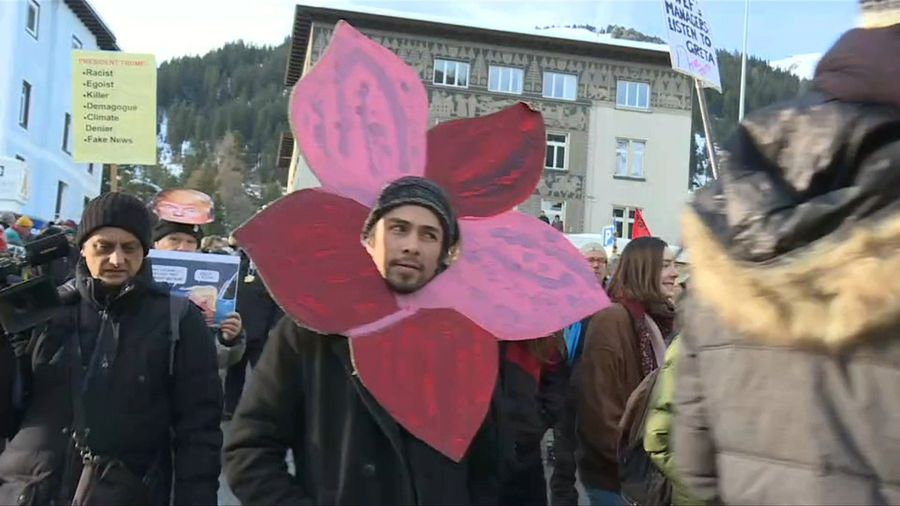 People hold climate rally on sidelines of World Economic Forum in Davos
