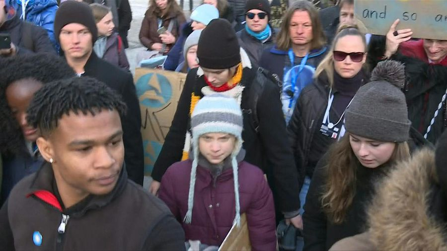 "Climate activist Greta Thunberg takes part in ""school strike"" march in Davos"