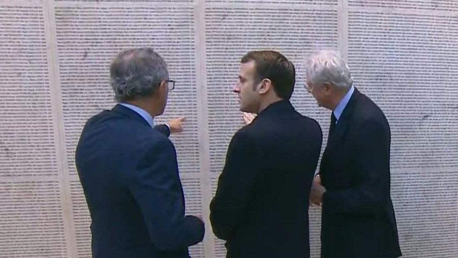 French president inaugurates renovated 'Wall of Names' memorial honouring Holocaust victims