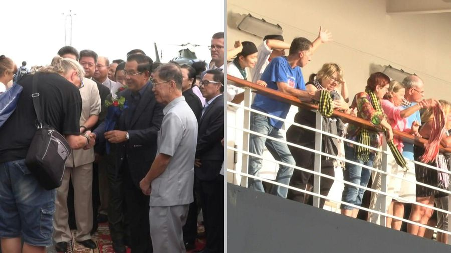 Cambodia PM welcomes cruise passengers disembarking after two weeks at sea over virus fears