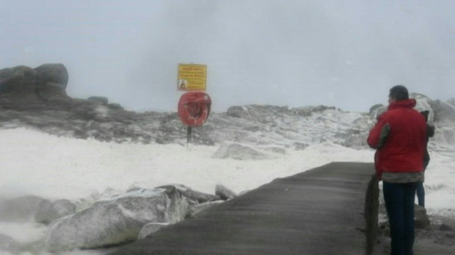Strong winds and waves as storm Dennis hits western France