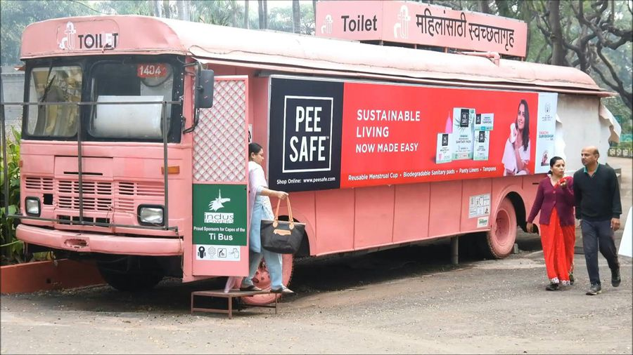Washroom-on-wheels: India firm turns buses into women's toilets