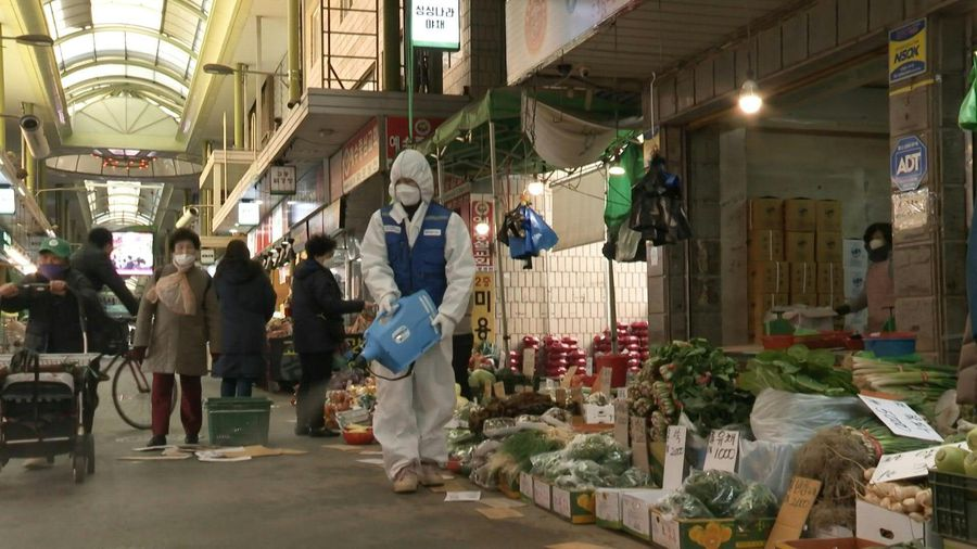 Disinfection in Seoul's local market amid virus fears