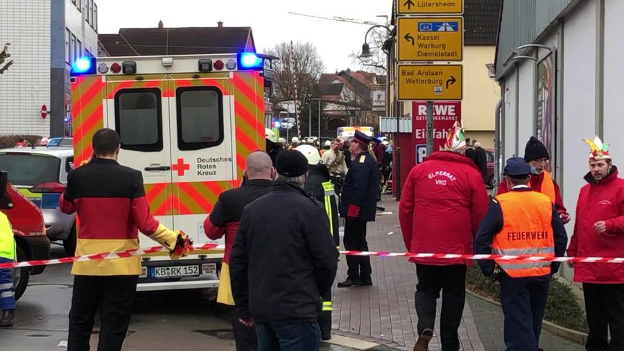 Rescue teams remain at the scene of the Volkmarsen carnival procession incident