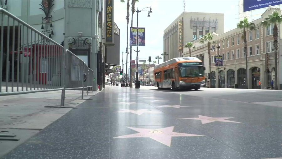Images of almost empty Hollywood Boulevard as residents remain on lockdown