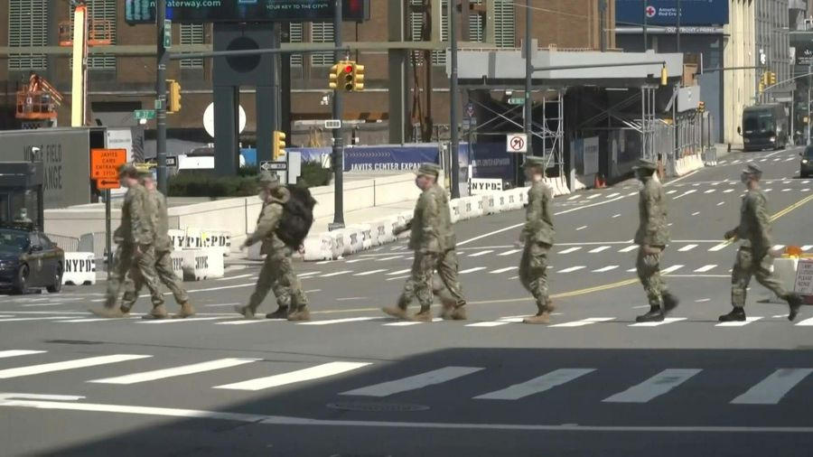 Coronavirus: National Guard members at Javits Center field hospital