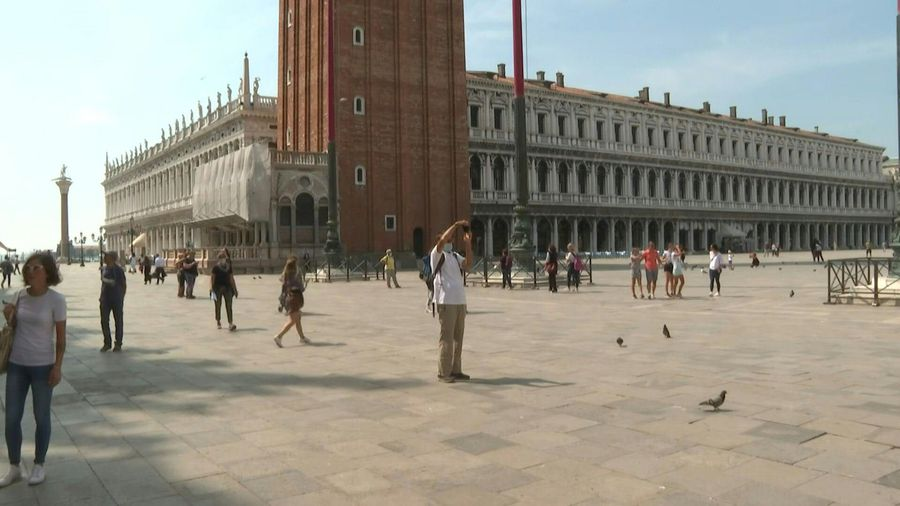 Scene at Venice's St Mark's Square as Italy reopens to tourists from Europe