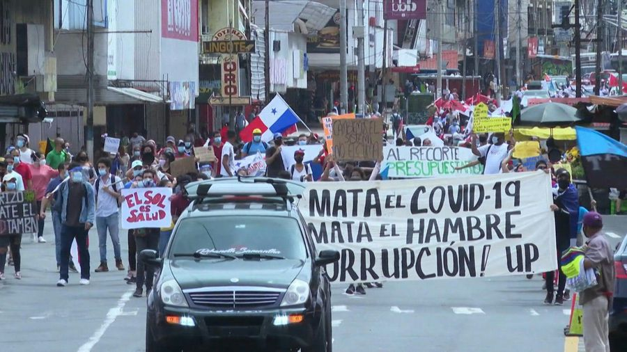 Hundreds in Panama protest against president over economic and virus woes