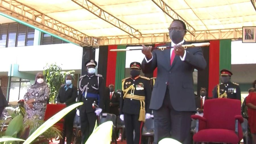 Malawi's new president receives the sword of command