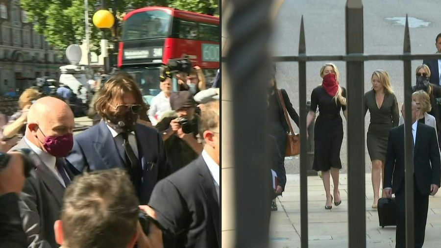 Johnny Depp and Amber Heard arrive at London court for libel trial