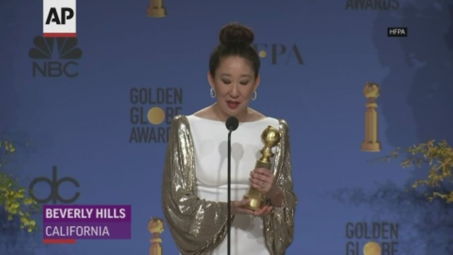 Sandra Oh talks Globes wins backstage