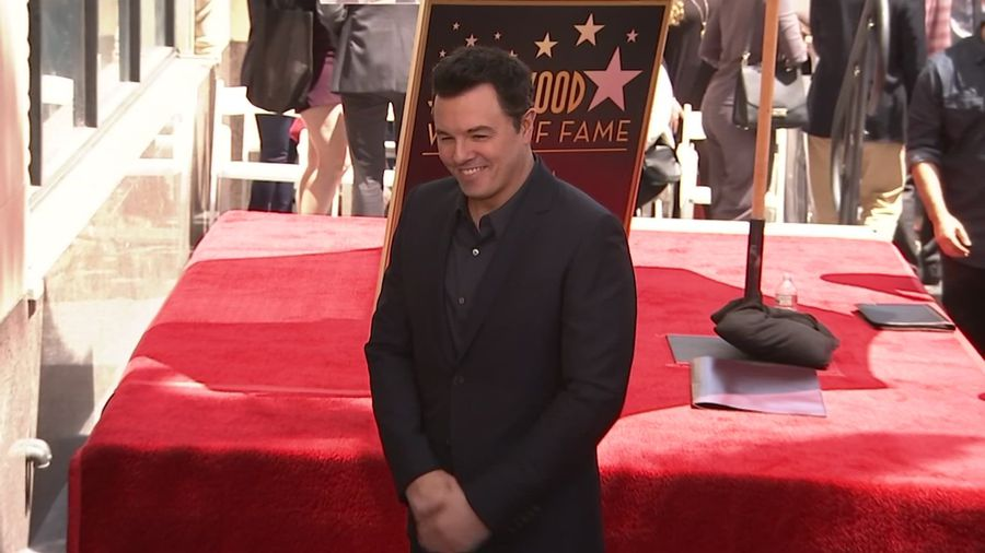 Seth MacFarlane honored in irreverent Hollywood star unveiling