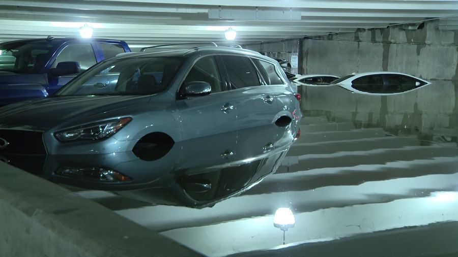 Storm leaves cars underwater at Dallas airport