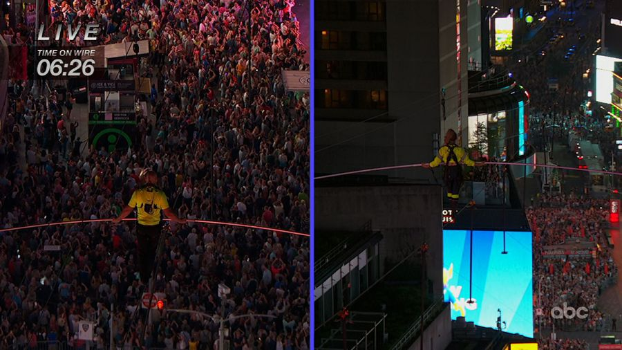 Wallendas safely cross Times Square on high wire