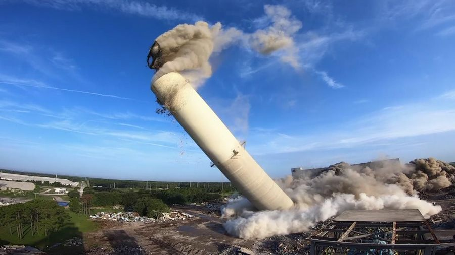 Boilers, stack implodes in Jacksonville Florida