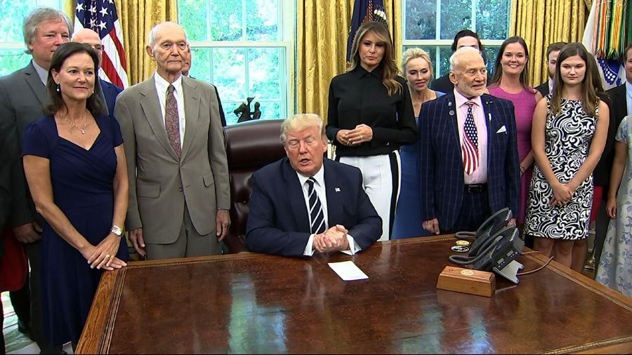 Trump marks Apollo 11 anniversary with astronauts