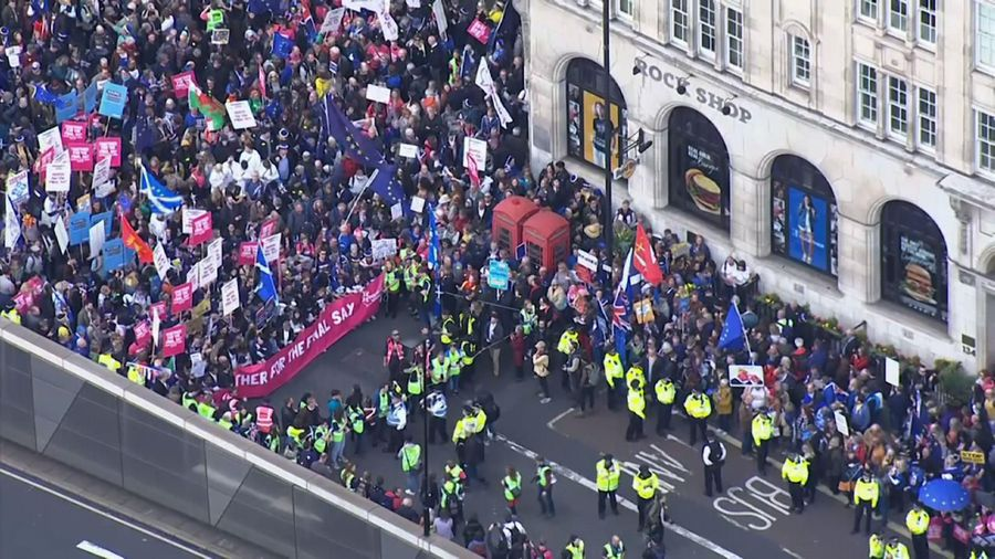 Anti-Brexit protesters converge on London