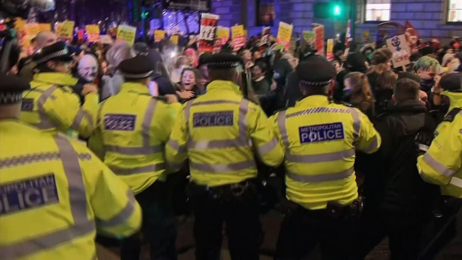 Police try to contain anti-Johnson protests in London