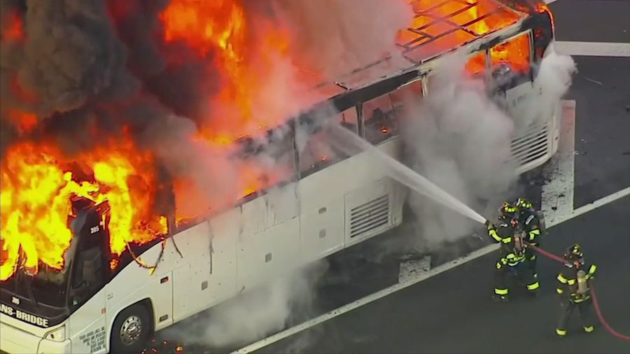Bus catches fire on NJ highway